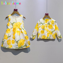 2PCS/2-6Years/Spring Autumn Baby Girls Boutique Clothing Sets Flowers Children Jackets+Kids Dress Fashion Toddler Clothes BC1084