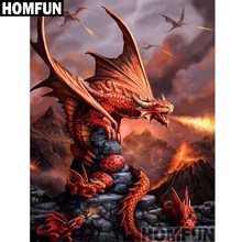 "HOMFUN Full Square/Round Drill 5D DIY Diamond Painting ""Angry fire dragon"" 3D Embroidery Cross Stitch 5D Decor Gift A01002(China)"