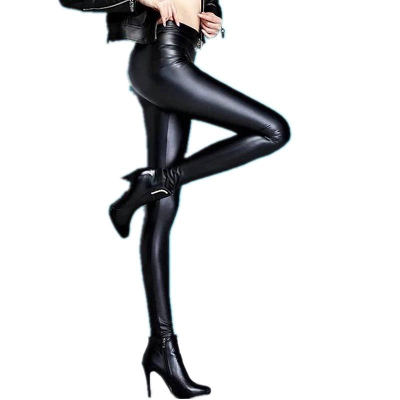 New Faux Leather Leggings Sexy Fashion High-waist Stretch Material Pencil Women Leggings Sexy Leggings Women Free Size