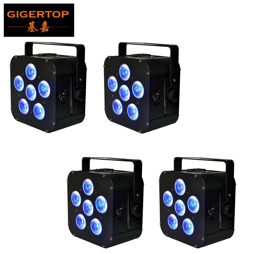 TIPTOP 4pcs/lot 6x18W 6IN1 RGBAW UV Waterproof IP20 Battery Powered Wireless DMX512 Wifi LED Par Light 6/10CH