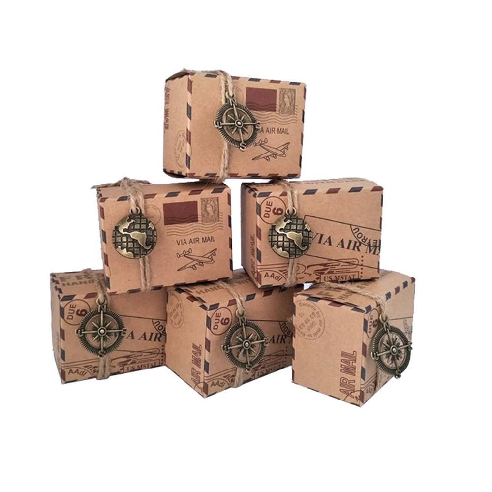 Wedding Gift Packaging: 100pcs Vintage Favors Kraft Paper Candy Box Travel Theme