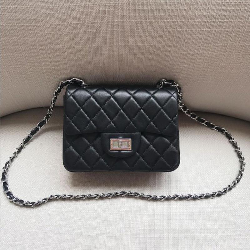 Women Bag Genuine Leather Soft Sheepskin Classical Flap Woman Messenger Bags Small Diamond Lattice Brand Designer