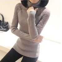 2014 Spring And Autumn Hot Selling Sweater Ladies Fashion Solid Long Sleeve Sweater