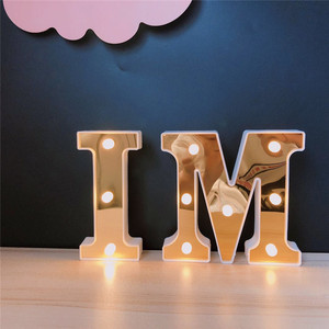 Image 3 - INS Gold 26 Английский алфавит Marquee светильник, Свадебный светильник, светильник с именем и буквой s, светодиодный Ночной светильник, украшение для бара