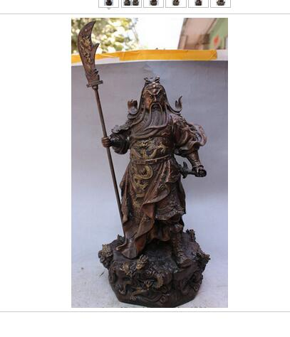 19 Chinese Pure Bronze Dragon Head Warrior Loyalism GuanGong GuanYu God Statue Brass decoration bronze factory outlets