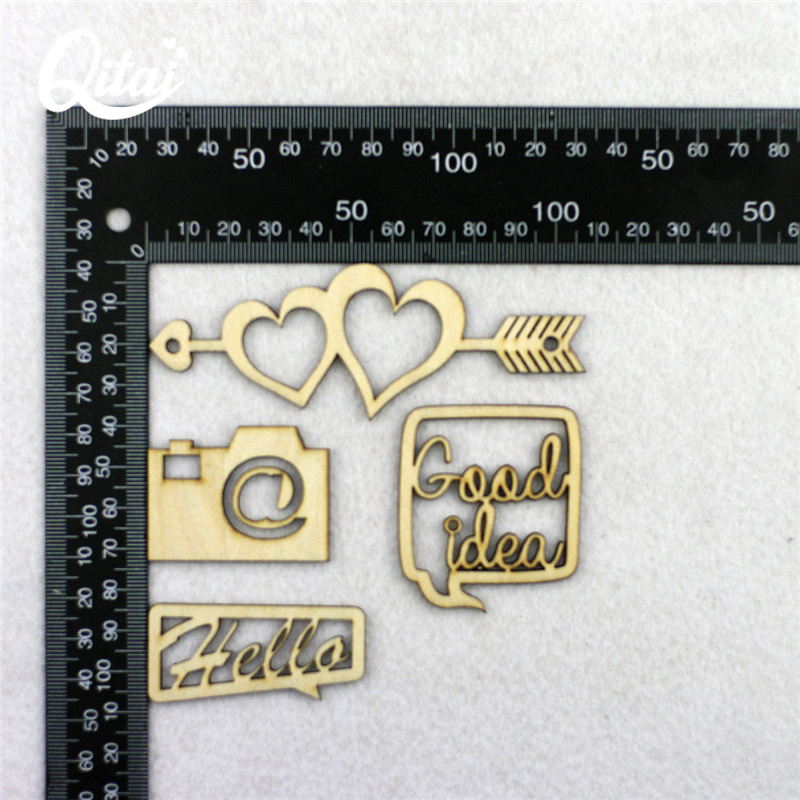 10x WOODEN ARROW HEART SHAPES gift tag craft card embellishment scrapbook favour