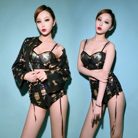 New Ds Costume Camouflage Sexy Uniform Bar Dj Costume Female Singer Suit Jazz Dance Set Stage Costumes for Singers Rave Outfit