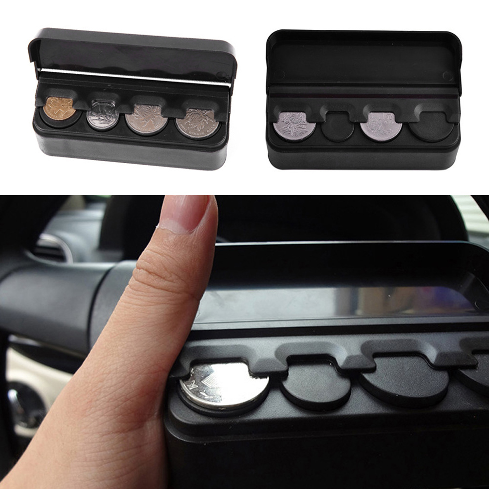 Black Plast Car Coin Organizer Case Loose Change Money Oppbevaringsboks Containerpenger Myntholdere Organiserer moeda 4 Gitter
