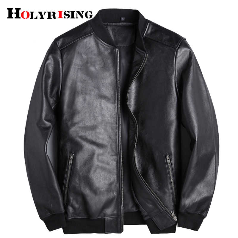 asian plus size genuine leather jacket men cowhide coat high quality Vintage Black Motorcycle Biker Man's Coat Autumn 18688-5