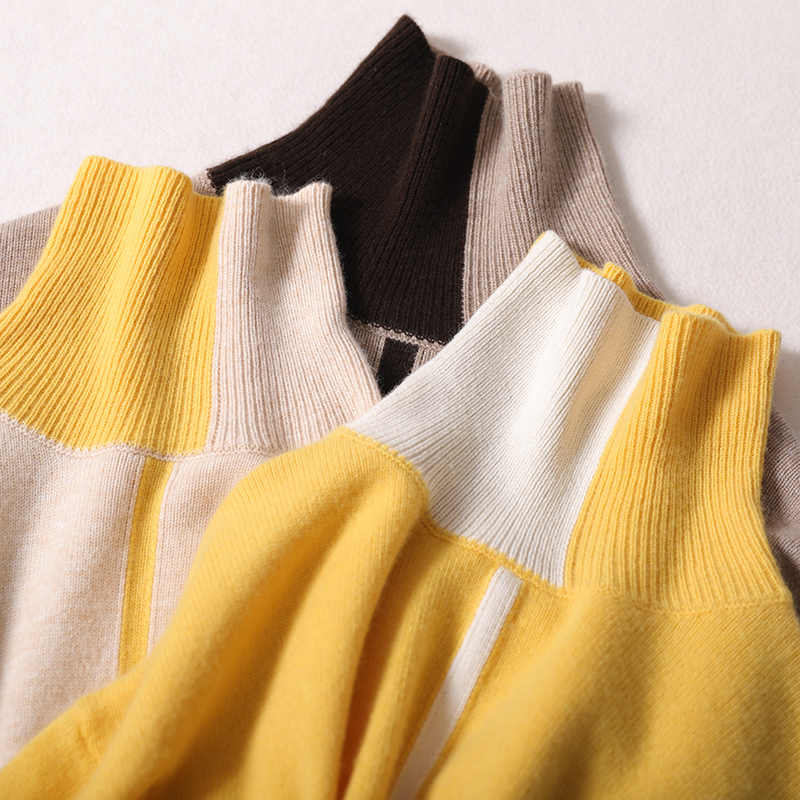 BELIARST  Autumn and Winter New Women's High Collar Pullover Fashion Stitching Cashmere Sweater Slim Thin Warm Knit Bottoming