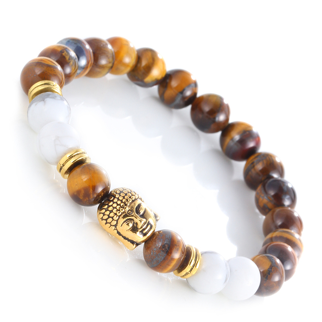 Natural Stones Beaded Buddha Charm Lava Bracelet