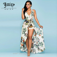 Autumn Winter Party Maxi Dress Sling Evening Deep V Neck Backless Flower Pattern Patchwork Sexy Enthusiasm