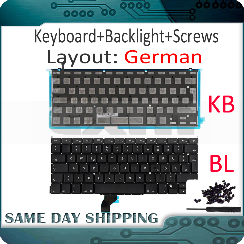 New for Macbook Pro Retina 13 A1502 German Germany DE GR Keyboard with Backlight Backlight +100Pcs Screws 2013 2014 2015 Years image