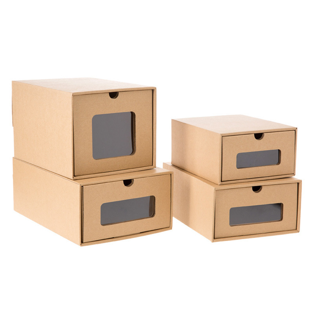 creative strong kraft paper drawer style shoe storage box household diy dust proof shoes box. Black Bedroom Furniture Sets. Home Design Ideas