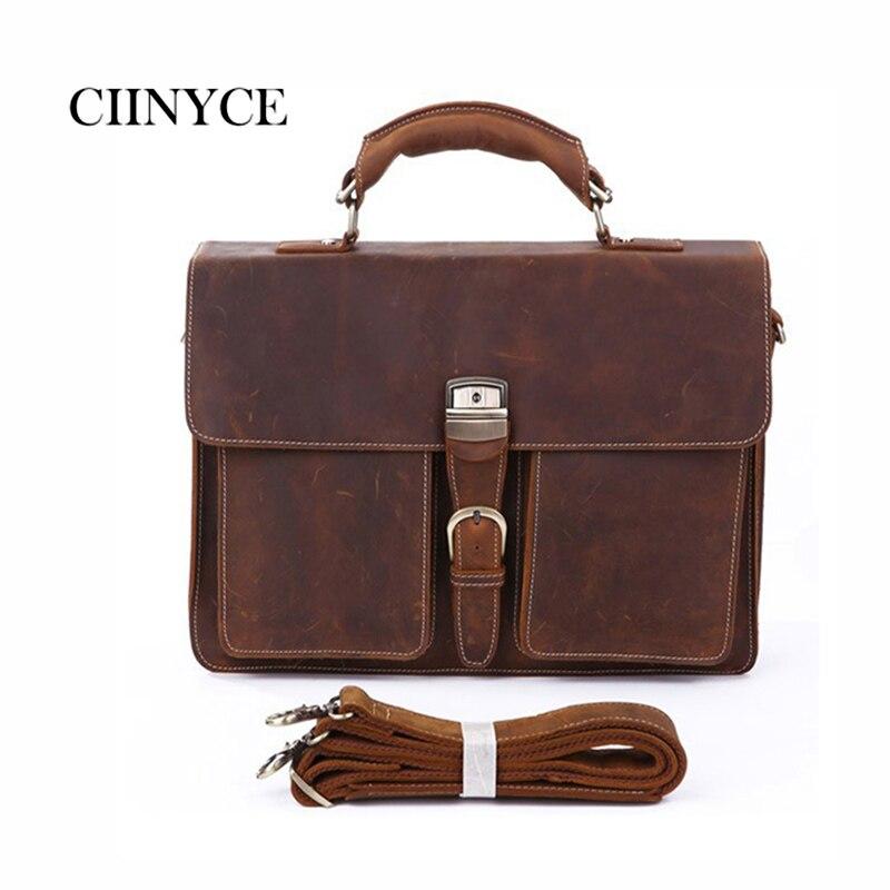 100% genuine leather bag crazy horse leather men's handbags casual business shoulder bag Lawyer briefcase messenger bag laptop