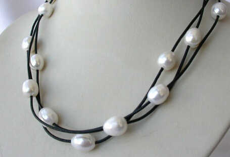 Free shipping ddh003589 stunning 3strands big 11mm baroque white freshwater pearl leather necklace (B0409)
