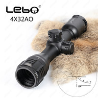 LEBO Hunting Riflescope 4x32 AO Tactical Optical Sight Glass Etched Reticle Compact Rifle Scope
