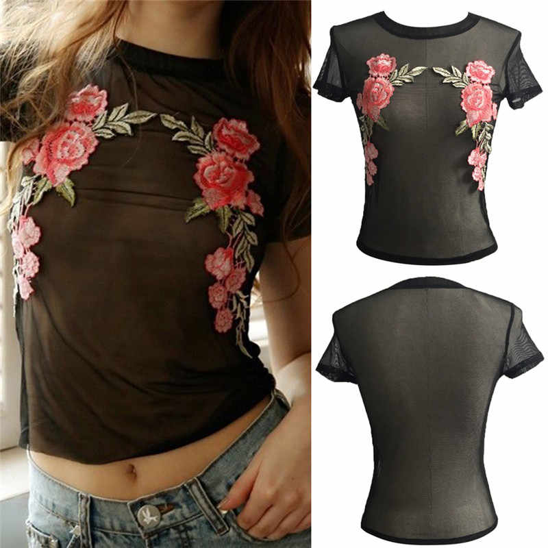 b81ece964d 1pc Women Tops Sexy Fashion T-Shirt Female Black Lace tshirt Femme Red Rose  Floral Mesh Top Tees Summer T Shirt