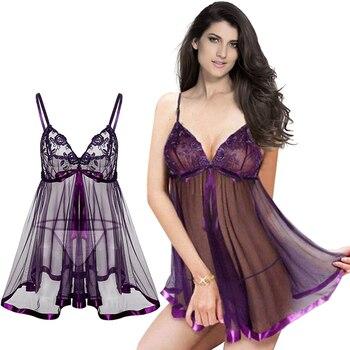2017 New Plus Size S-6XL Sexy Lingerie Purple Big Size Lace Lingerie Women Sexy Dress Underwear Night Sleepwear Erotic Lingerie фото