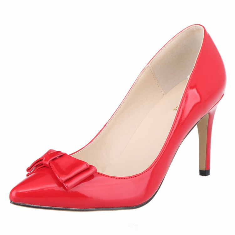 New 2017 Women Basic Shoes Office Elegant Pumps Sexy Bride Party Thin Heel Pointed Toe High Heels Red Wedding Shoes SMYBK-058 new women patent leather high heels shoes wine red gray sexy pointed toe shoe for wedding party office career pumps smybk 020