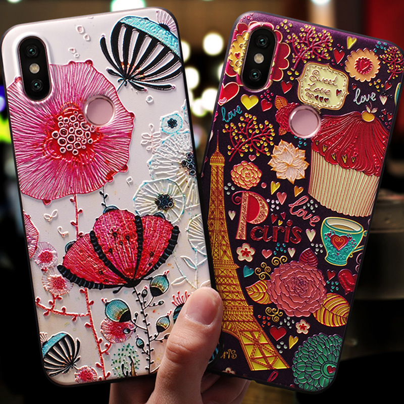 3D Print Emboss Soft TPU Phone Case For Xiaomi Mi 5X A2 Lite A1 6X for Redmi S2 6A 4A Plus 3S Note 3 4 4X 5 5A 6 Pro Cases Cover
