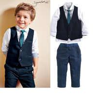 Estate autunno ragazzi set di abbigliamento per bambini ragazzi shirt + vest + lungo pant + tie cotone dei bambini fore pezzi che coprono gli insiemi per 2 3 4 5 6 7 Y