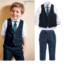 summer autumn boys clothing sets kids shirts+vest+long pant+tie children cotton fore pieces for 2 3 4 5 6 7 Y