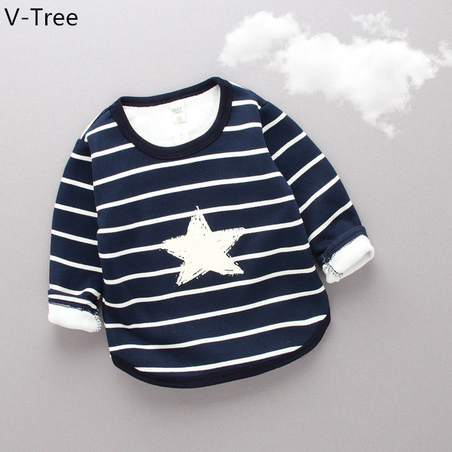 Boys Girls Cotton Padded T-Shirt Baby Kids Long Sleeve Velet T Shirt Toddlers Winter Stripe Warm Blouses Tshirt Children Cloth