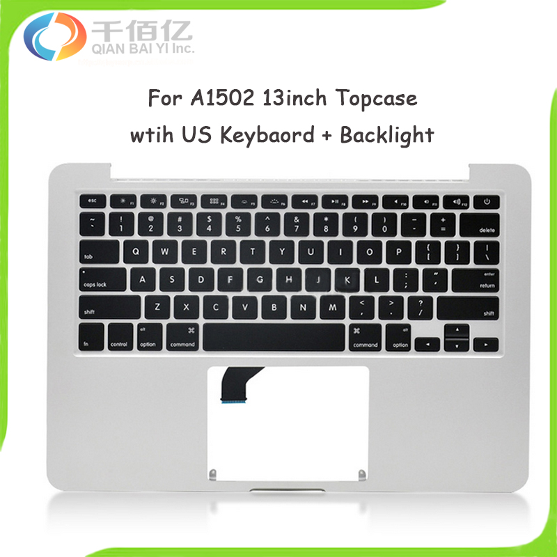 Original New Topcase for Macbook Pro Retina 13 A1502 Top case with US Layout Keyboard Year 2015 original new topcase 11 6 for macbook air a1370 a1465 palmrest top case with us keyboard backlight no touchpad 2013 2015