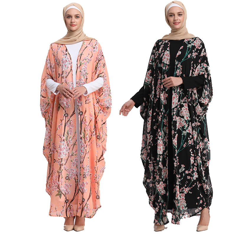 Abaya Dubai Kaftan Islam Long Batwing Floral Cardigan Muslim Hijab Dress Abayas For Women Jilbab Caftan Turkish Islamic Clothing