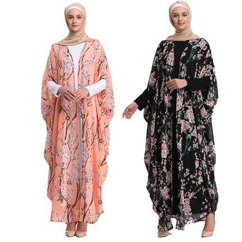 Robe longue chauve-souris Floral musulman