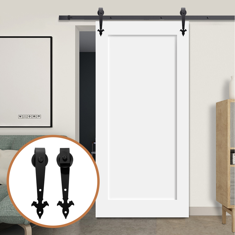 LWZH Industrial Style 8FT Single Sliding Barn Door Steel Hardware Kit Closet Track Set Black Arrow Flower Shaped Hanger For Door