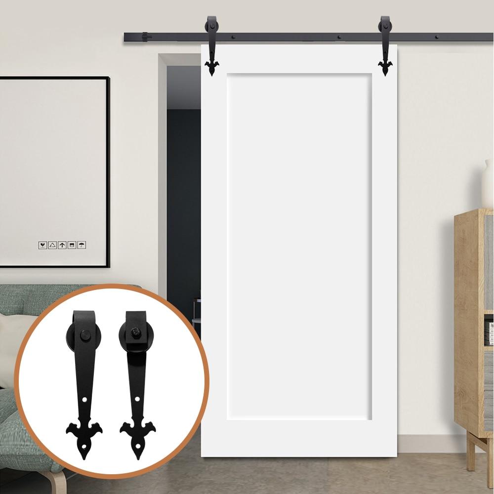 LWZH Industrial Style 8FT Single Sliding Barn Door Steel Hardware Kit Closet Track Set Black Arrow Flower Shaped Hanger For Door