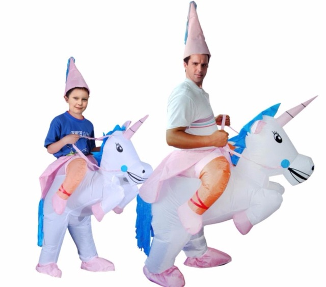 HOT Adult Halloween Costumes Inflatable Unicorn Costumes Ride on Sky Horse Air Blowing Up Clothes Funny Costumes Christmas Gifts