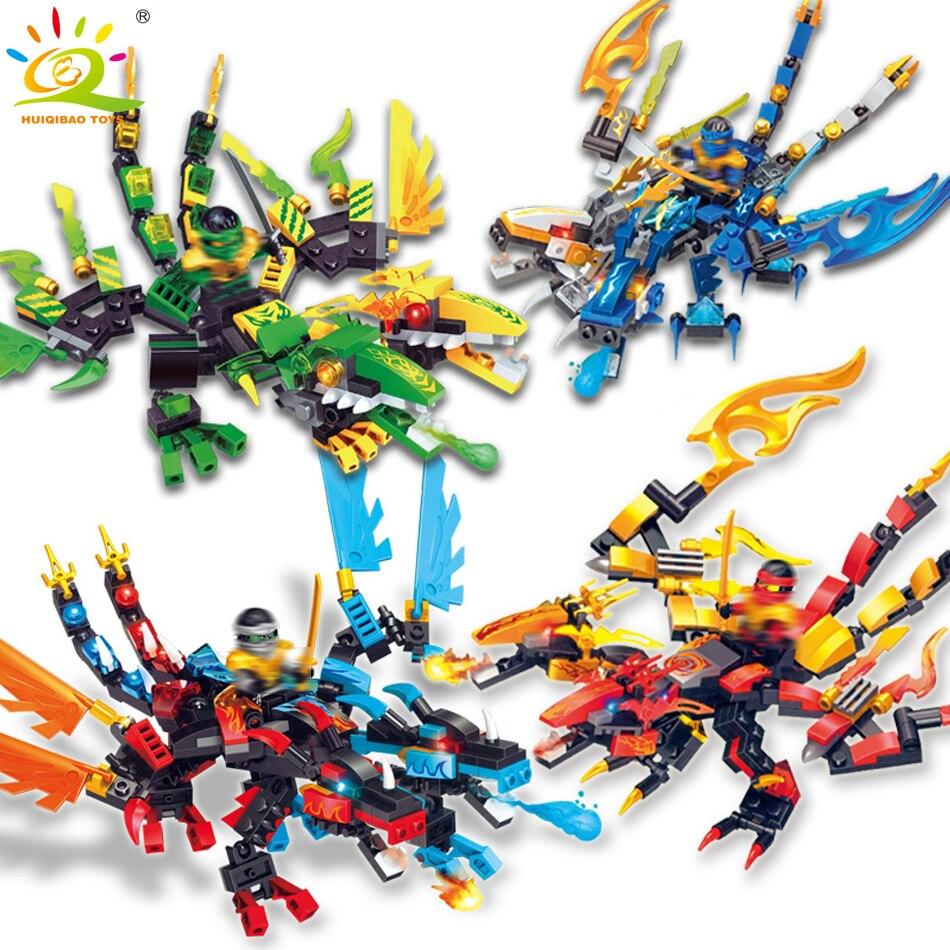 4pcs/set Ninjagoes Dragon Building Blocks Compatible Legoingly Kai Jay figures DIY NINJA Bricks Educational toys for children