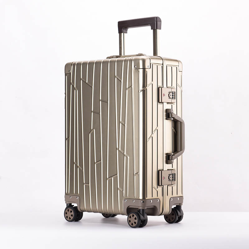 LeTrend 100% aluminium magnésium alliage roulant bagages Spinner hommes valise d'affaires roues 20 pouces cabine Trolley sac de voyage-in Valises from Baggages et sacs    1