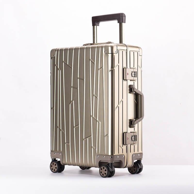 LeTrend 100% lega di Alluminio magnesio Trolley Spinner Degli Uomini di Affari Valigia Ruote 20 inch Cabina Trolley Da Viaggio Borsa Da Viaggio-in Valigie da Valigie e borse su  Gruppo 1