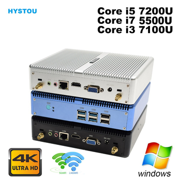 Core i5 7200U i7 5500U HYSTOU Fanless Mini PC Windows 10 HDMI VGA 300M WIFI HTPC mini computer Linux i3 7100U 4K TV box pc