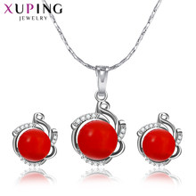 Xuping Classic Imitation Pearl Pendant Earrings Jewelry Sets for Women Party Engagement Best Birthday Exquisite Gifts S168-60092(China)