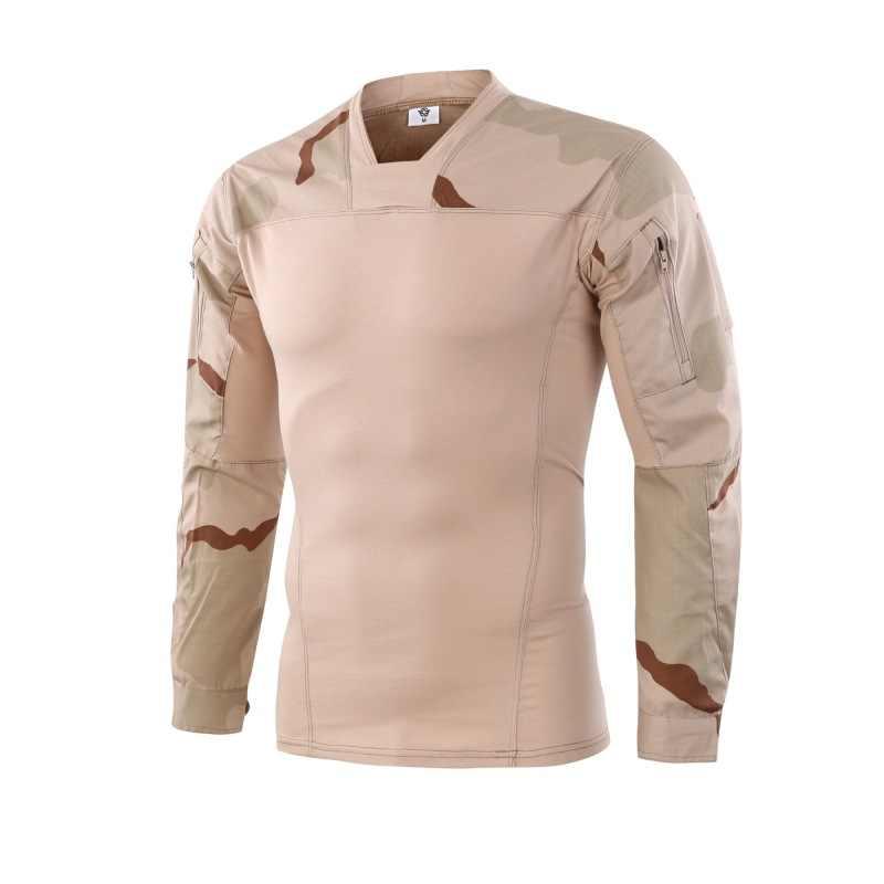 Uniforme militar táctico Fans del ejército camuflaje de la fuerza cuello en V de manga larga de combate táctico camiseta para hombres