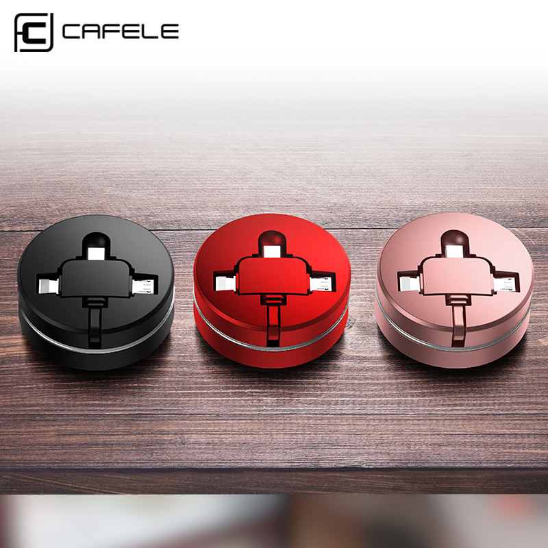 CAFELE Retractable USB Micro <font><b>cable</b></font> for iPhone 6 type c charger <font><b>cable</b></font> Portable <font><b>3</b></font> <font><b>in</b></font> <font><b>1</b></font> USB <font><b>Cable</b></font> Charging for xiaomi image