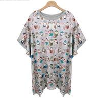 2015 New Style Cartoon Owl Printed Women S T Shirts Brand Summer Oversize Short Sleeve T