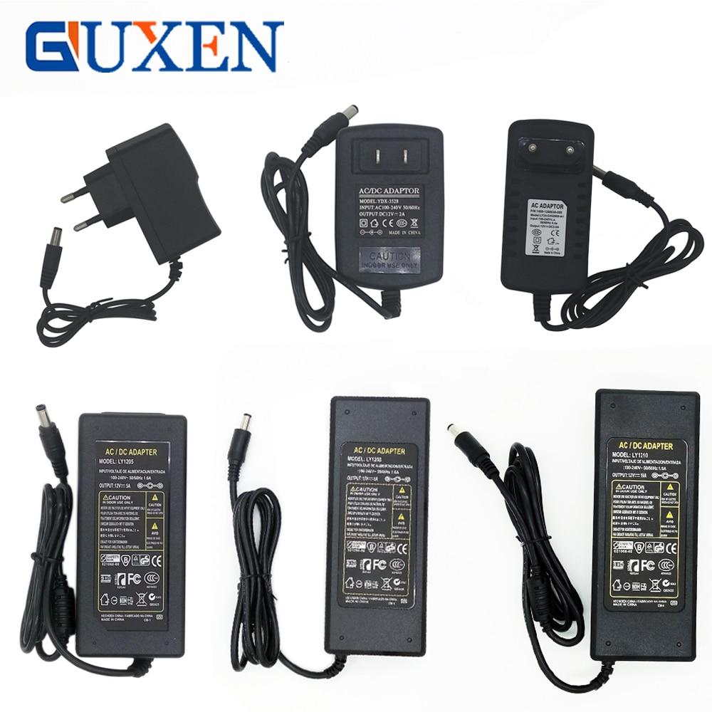 GUXEN LED Power Supply 12V 1A 2A 3A 5A 6A 8A 10A Input AC110V 220V to DC12V Transformer Adapter for led strip 201w led switching power supply 85 265ac input 40a 16 5a 8 3a 4 2a for led strip light power suply 5v 12v output