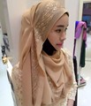 2016 New Fashion rimmed Muslim Hijab Scarf Islamic Shawls Wrap Shinny Wave Print Scarf Wholesale Scarves MSL004