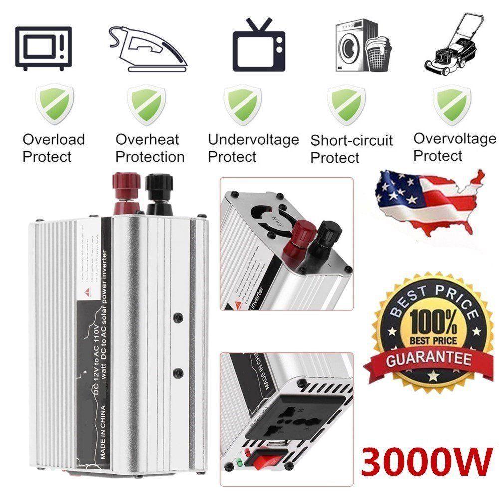 Solar Power Inverter 6000W Peak 12V DC To 110V AC Modified Wave Converter Car Auto Power Inverter Vehicle Voltage Inverter