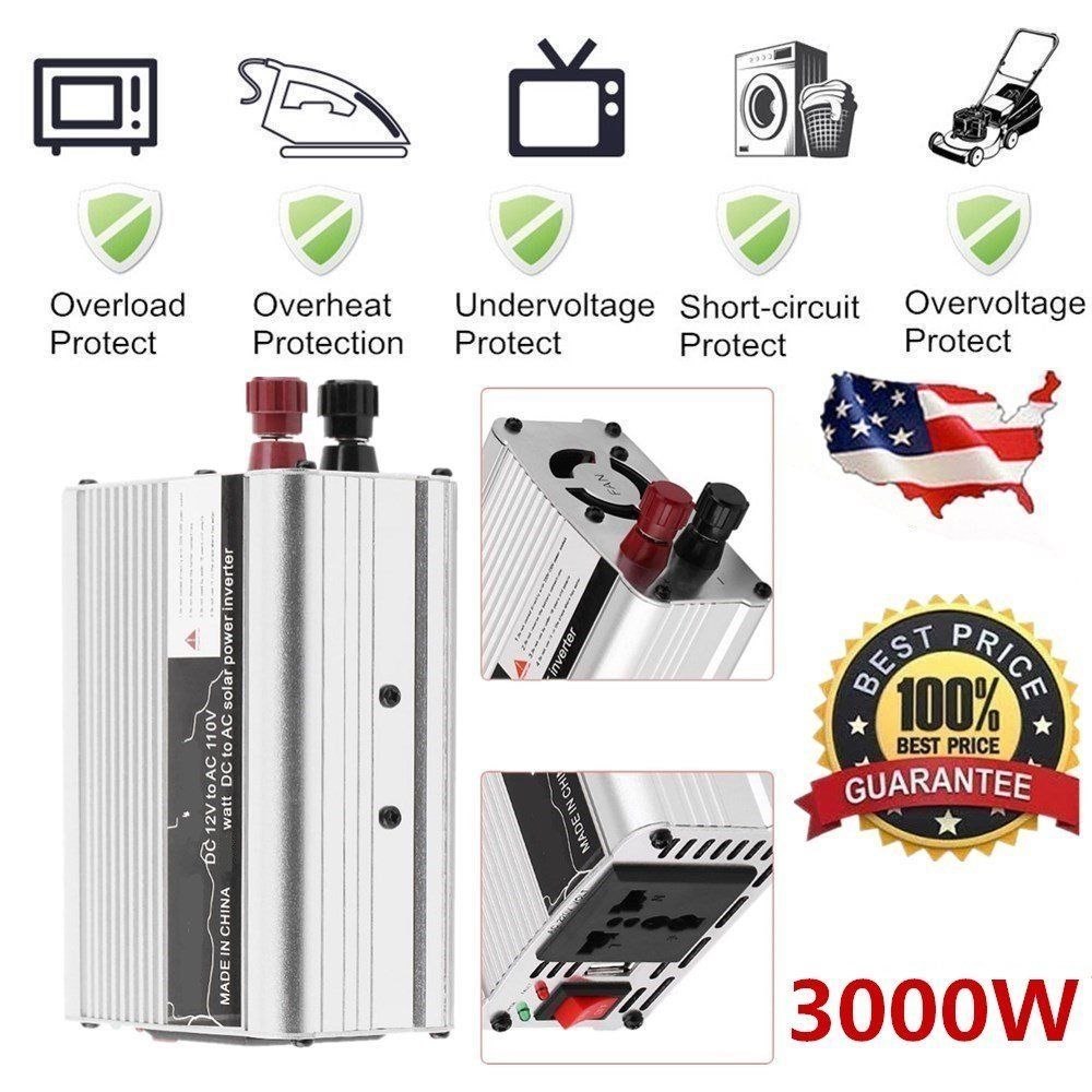Solar Power Inverter 6000W Peak 12V DC To 110V AC Modified Wave Converter Car Auto Power Inverter Vehicle Voltage Inverter