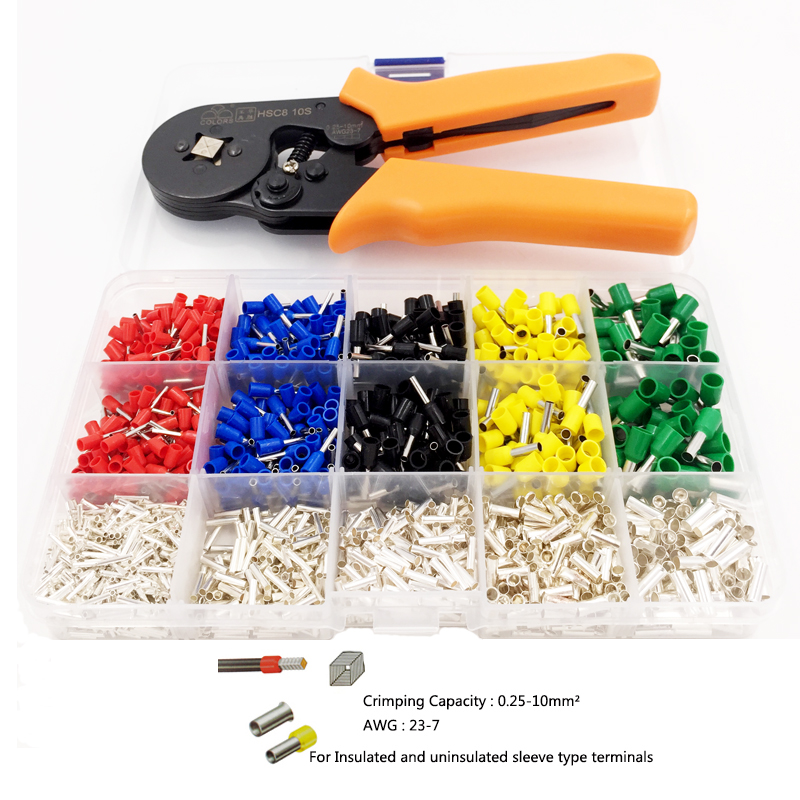 Selbst-Einstellbar Crimpen Zange + Crimpen Terminals Sets AWG24-10 Draht Kabel Rohr Terminals Crimpen Zangen Multi Hand Werkzeuge