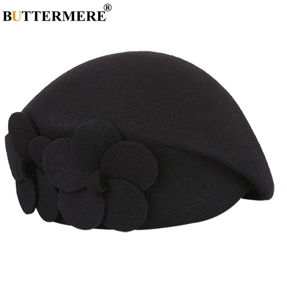 BUTTERMERE Elegant Hats For Ladies Wool Red Fedoras Flower Grace French Berets Women Cap Solid Warm Autumn Winter Felt Hat Black 4
