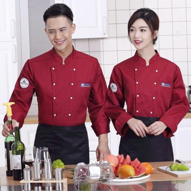 Arbeitskleidung Küche | Langarmeligen Chefmantel Kellneruniform Kochen Mantel Kochjacke