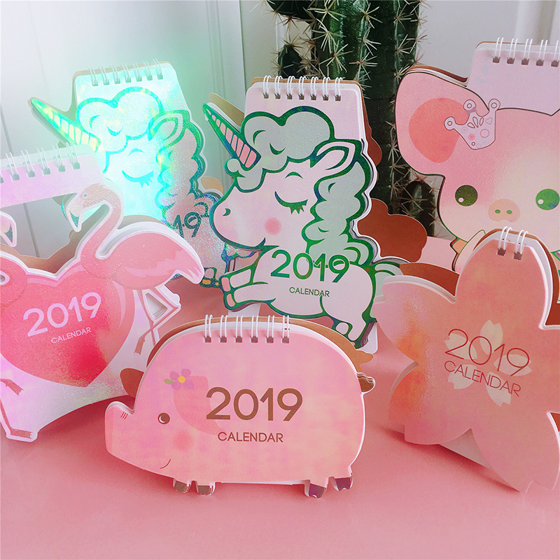 2019 Cute Unicorn Flamingo Pig Laser Mini Table Desktop Calendar Agenda Organizer Daily Schedule Planner 2019.10~2019.12